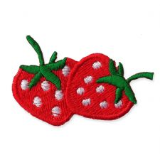 DOUBLE STRAWBERRY MOTIF IRON ON EMBROIDERED PATCH APPLIQUE